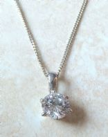 Sterling Silver And Single CZ Diamante Necklace.